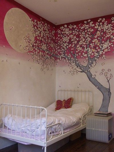 Very unique painting of a cherry blossom tree mural for Cherry blossom mural on walls