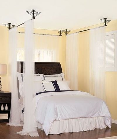 Ceiling mount curtain rods...there's an idea