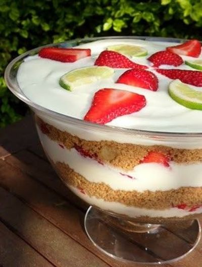 Strawberry & Lime Margarita Cheesecake trifle - yes plea ...