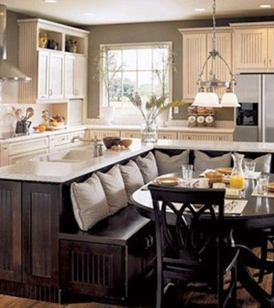 Always A Fan Of The L Shaped Kitchen Seating...love This!