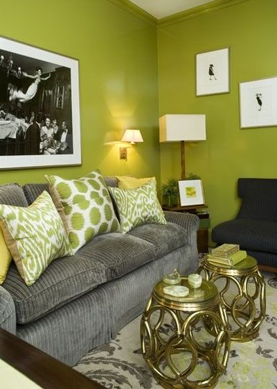 Amanda nisbet design apple green and gray living room for Apple green living room ideas