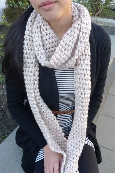 Pattern Puff Stitch Scarf Knits And Stitch Juxtapost