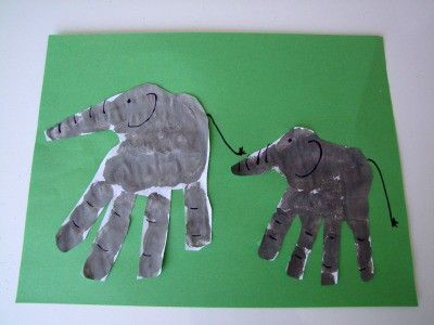 Letter E Craft Handprint Elephant Preschool Items