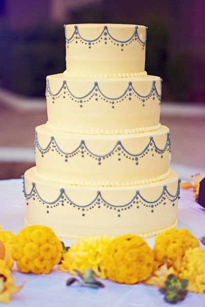 Gray And Yellow Anthropologie Style Wedding Cake