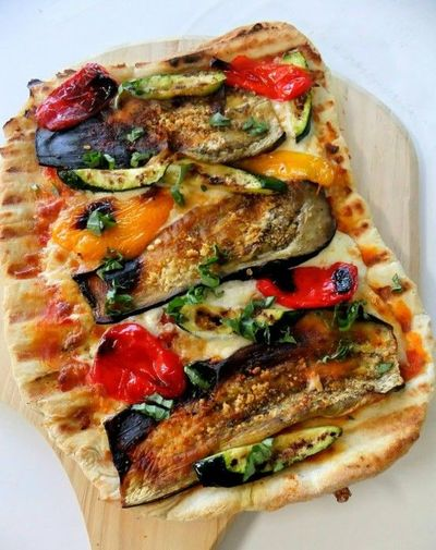 pizza on a grill