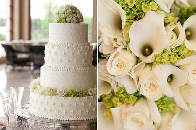 green and white wedding cakes. classic wedding cake with green and white flowers/mary kate mckenna photography cakes