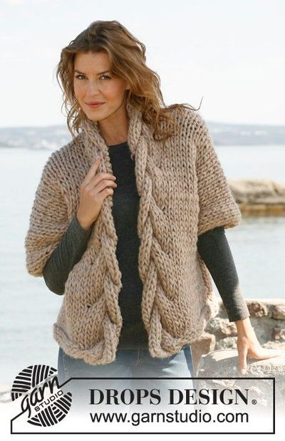 Free Knitting Pattern For A Jacket : Free Pattern Drops Design. Size 15 mm needle. Looks like it ... / Knits and s...