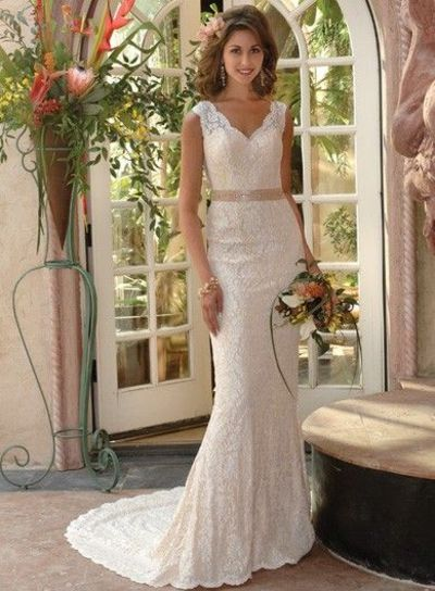 vintage mermaid lace wedding gown belted at the waist