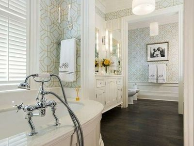 Master Bathroom #white #wallpaper #wood #bathroom #chandelie / bath