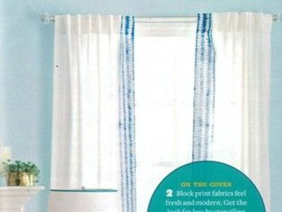 make border on draperies either with stencil or with pieced fabric