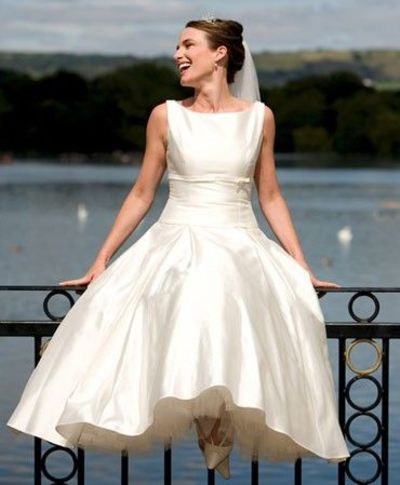 Tea Length Wedding Dress With Boat Neck