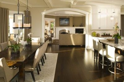 kitchen and dining room space with wide openin one big open kitchen
