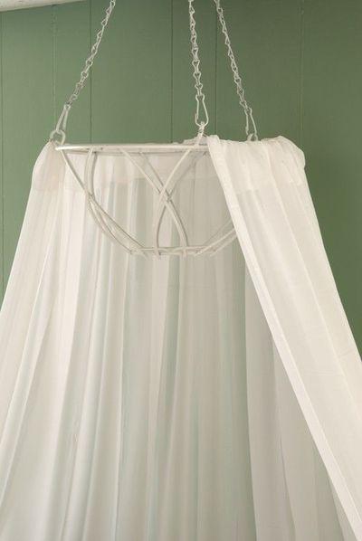 Diy canopy bed from hanging planter i love the idea of a for Hanging canopy over bed