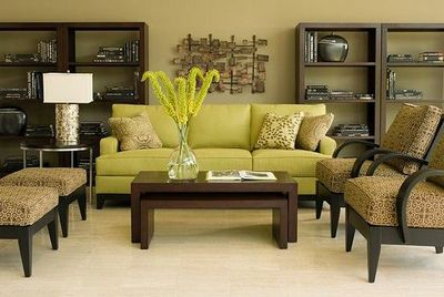 Green and brown living room.