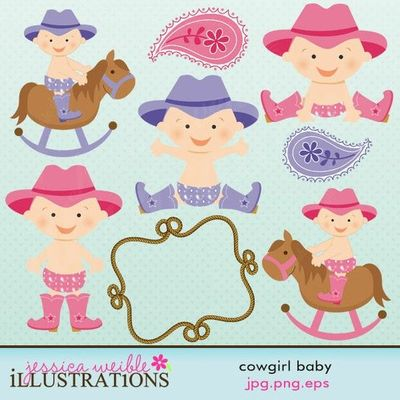 This Cowgirl Baby Clipart Set Comes With 11 Cute Baby