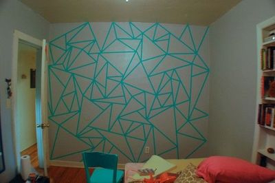Wall design made using masking tape perfect for dorm life for Wall designs using tape