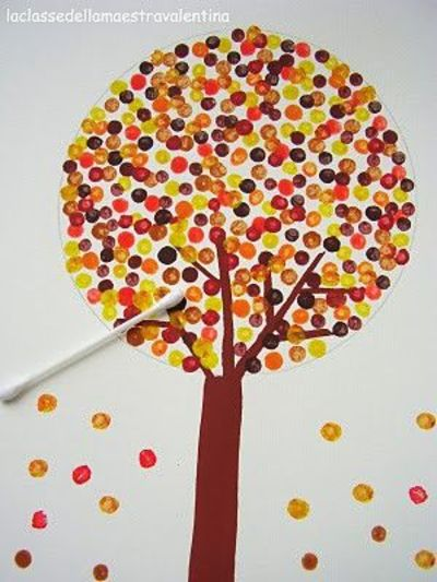 Fall Trees Q tip Painting School Planning Juxtapost