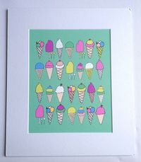 Illustration Print Icecream Love green by TotallyInnocent on Etsy
