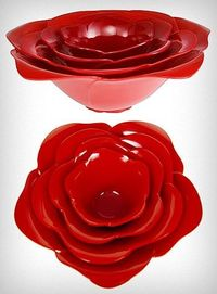 Large Red Rose Stacking Bowls $34.00