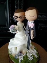 Custom Wedding Cake Topper with Custom Wedding Dress - MilkTea by Bthanari.
