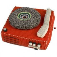 awesome crochet/knit record player.