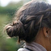 Messy braid and bun