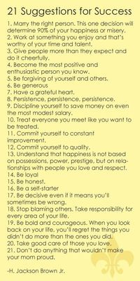 21 Suggestions for Success
