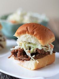 Crockpot BBQ Beef Sandwiches with Homemade Sweet Slaw