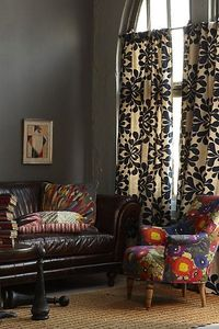 Curtains With Gray Walls And Brown Leather Couch For The