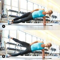 Slide Plank w/ Leg Lift: get into side plank position (A), elbow should be on ground below shoulder. As you hold this position slowly lift your top leg toward the ceiling (B), hold for 1 count, then slowly return to start. Complete 10-12 r...