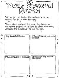 name sheet   ask families to participate in sharing