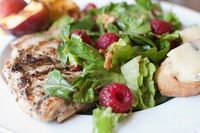 Raspberry Chicken Salad with Grilled Peaches & Brie Croutons