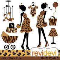Mom to be cliparts in safari prints. Pregnant woman, baby carriage, onesie, and more fun elements! In black and brown. These digital images are great for any craft and creative projects (specially for baby shower related projects).