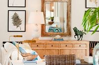 lamp - almost same as ours. love the gold leaf painted base room by allison elebash via house of turquoise blog