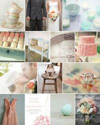 #wedding #inspiration #floral #antique #aqua #peach