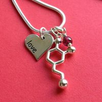 dopamine love heart garnet necklace for by molecularmuse on Etsy, $80.00