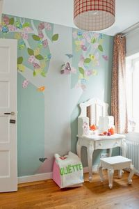 painted tree with scrapbook paper leaves