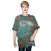 Trendy Turquoise Blue Paisley Print Georgette Top Blouse for Women L (Apparel)