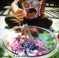 Pretend play- perfume concoctions. Imaginative play that appeals to the senses