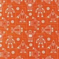 ROBOT FACTORY RED 100% ORGANIC COTTON QUILT CRAFT FABRIC
