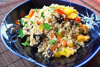 Roasted autumn vegetable quinoa salad with maple balsamic dressing