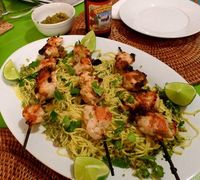 Chicken Satay with Fiery Noodles