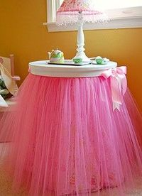 Darling pink tulle table skirt