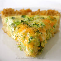 A Little Bit Crunchy A Little Bit Rock and Roll: Broccoli and Cheddar Quiche with a Brown Rice Crust