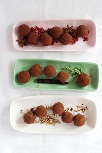 Rosemary and Vanilla Bean, Star Anise and Rose-Peppercorn, and Toasted Coriander Truffles