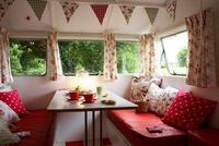 Girly trailer interior.