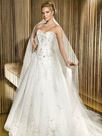 Modern sweetheart natural waist organza wedding dress=