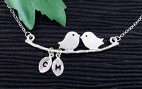 Kissing Love Birds Necklace, TWO Initial Monogram Silver Necklace, Couple Jewelry, Child and Mother, Best friends, Family tree Necklace from etsy.com