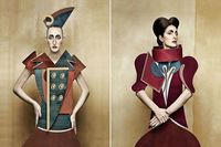 Dame di Cartone, Cardboard Ladies, is a series of portraits where women mimic 17th Century, cubist, and fifties fashions - only they're wearing dresses made of cardboard and paper instead of fabric by Swiss-Italian photographer Christian Tagliav...
