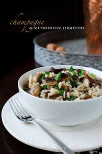 What to do with leftover New Year's champagne (aside from drink it, natch)? Champagne and mushroom risotto.